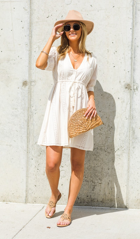 Sidewalk Cafe Dress, Cream