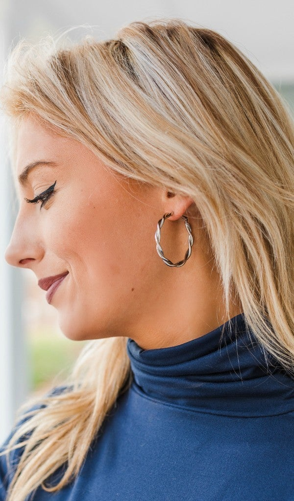 All Time Hoop Earring, Silver or Gold