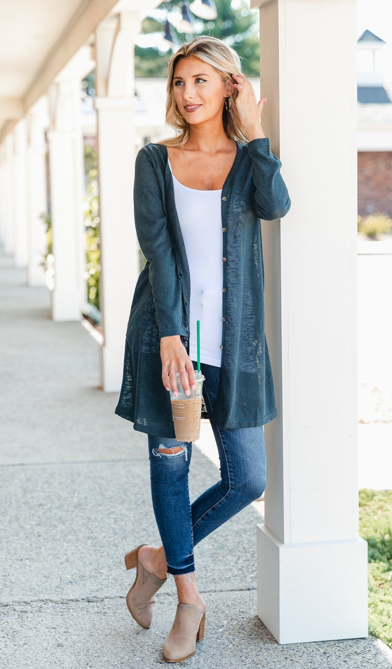 The Sadie Cardigan/Tunic, Olive, Taupe, or Steal