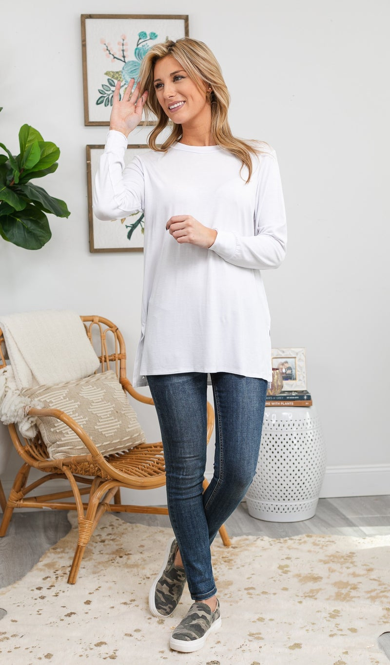The Josie Tunic, Charcoal, Eggplant, Ivory