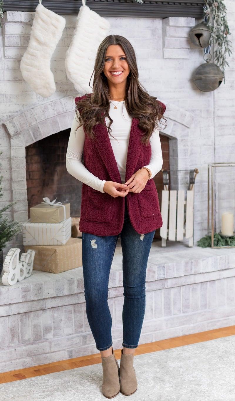 Feel Warmth Sherpa Vest, Grey or Burgundy