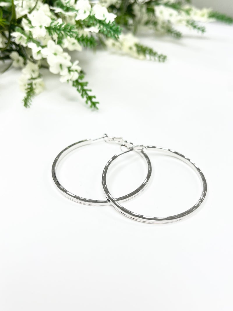 Round Silver Stamped Hoops, Silver and Gold