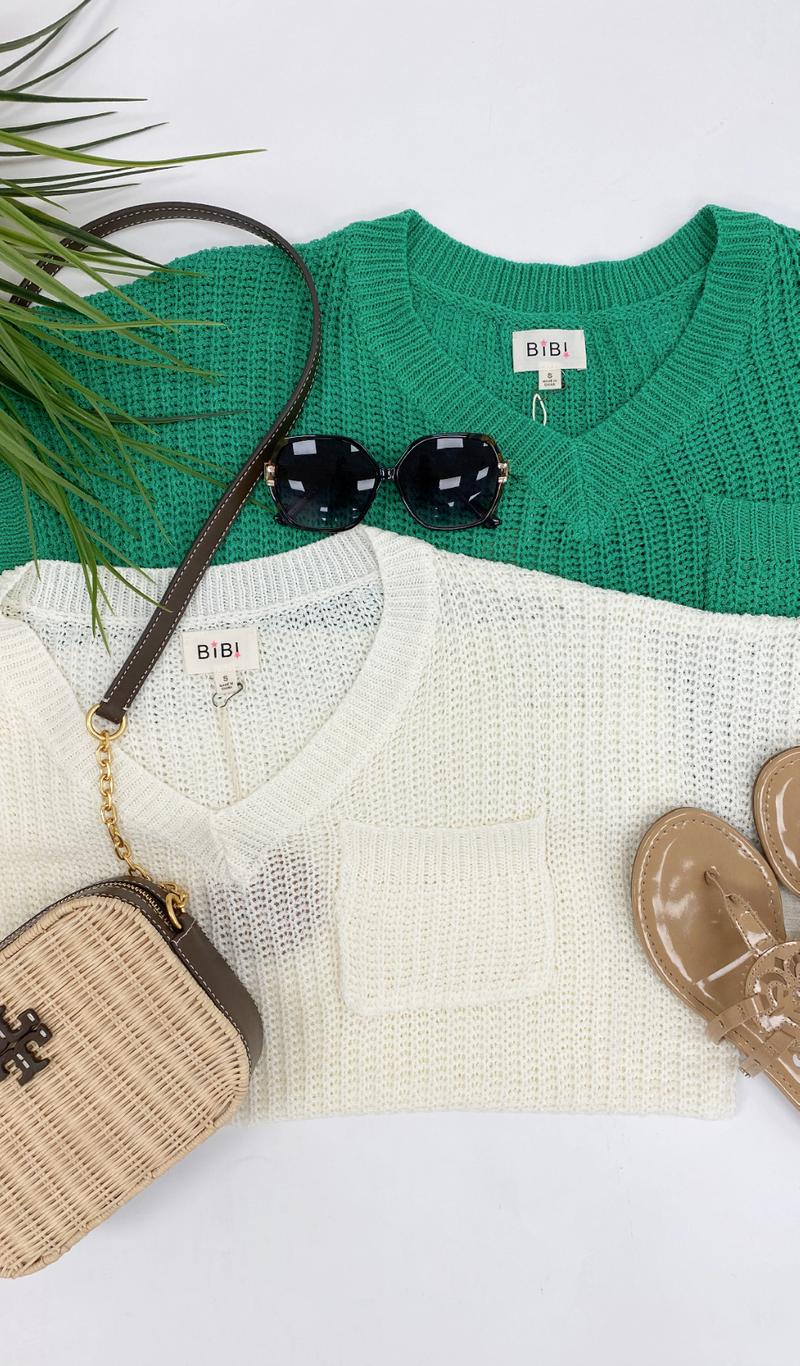 Beach Walk Knit Sweater, Fuchsia, Ivory, Jade, Or Light Grey