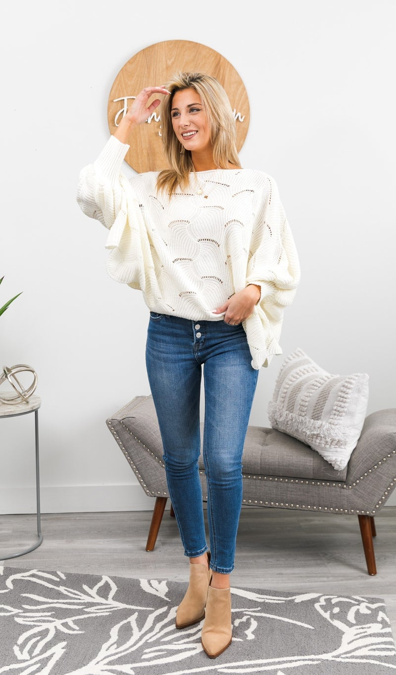 Sweet Dreams Sweater, Ivory or Blue