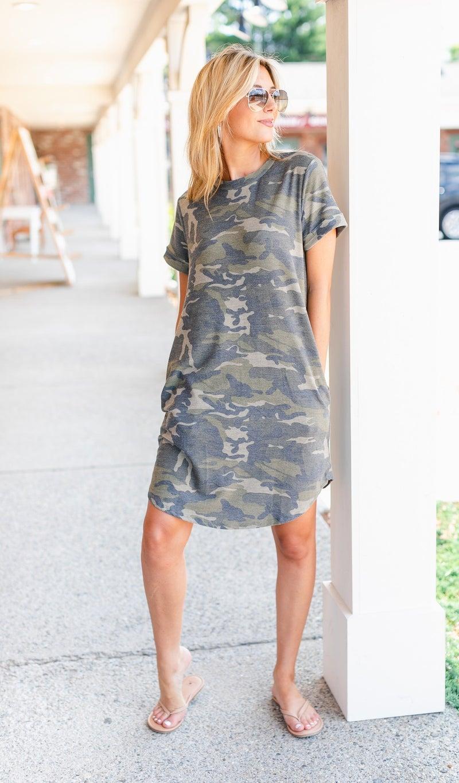 Camo Casual Dress, Green