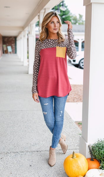 Shades of Fall Print Tunic, Rust