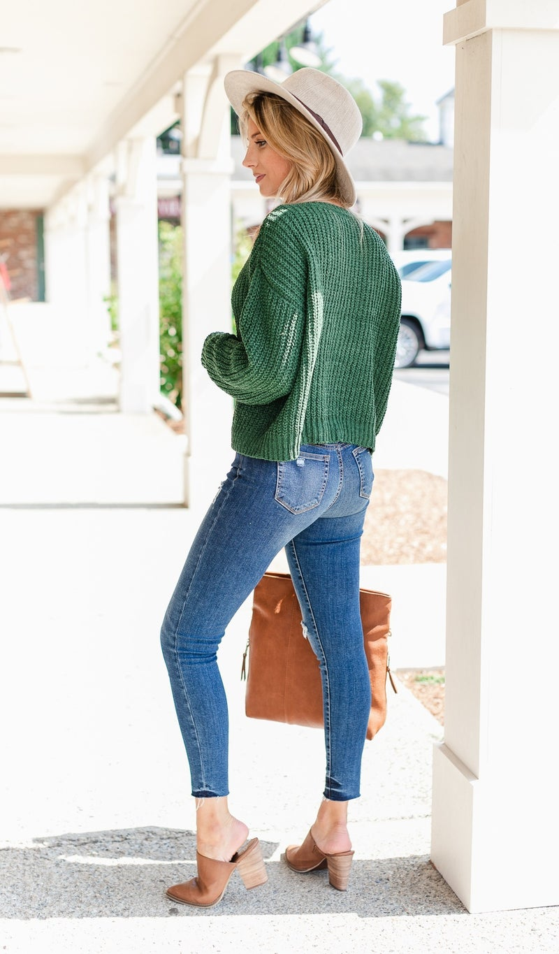 Falling For Knit Sweater, Olive