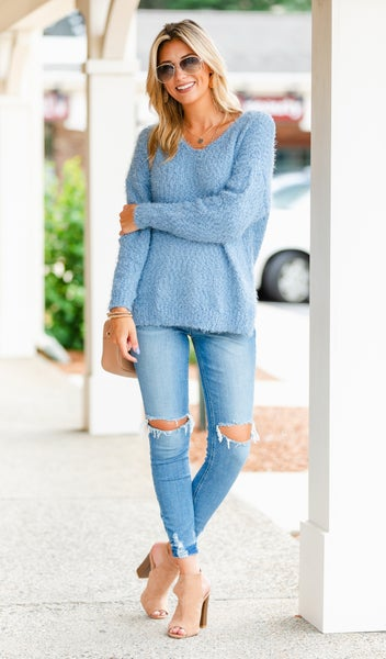All The Love Sweater, Blue, Sage or Taupe
