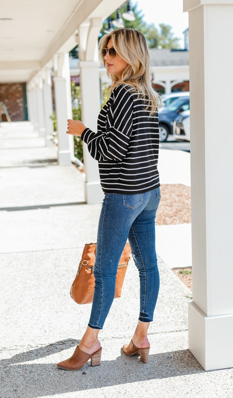 Away With Me Waffle Knit Top, Black and Ivory Stripe