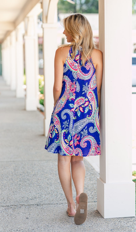 Horizon Dress, Cobalt Paisley Print