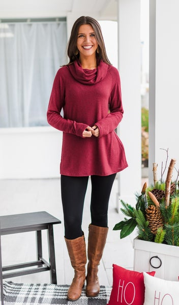Colby Cowl Neck Tunic, Grey or Burgundy