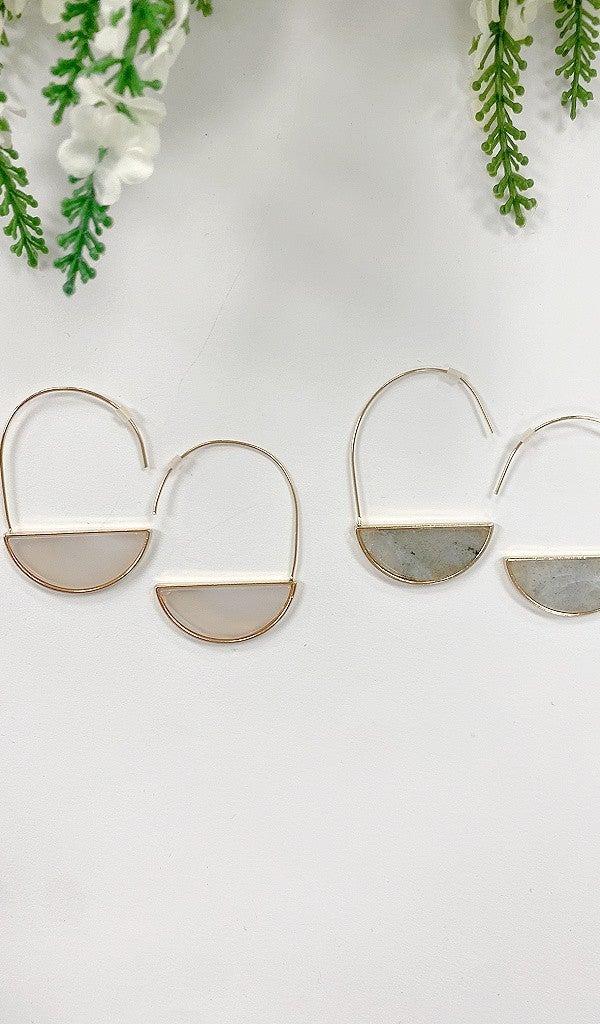 Half Moon Hoops, Beige or Grey