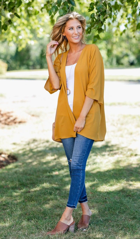 Kenzi Solid Kimono, Mustard or Navy