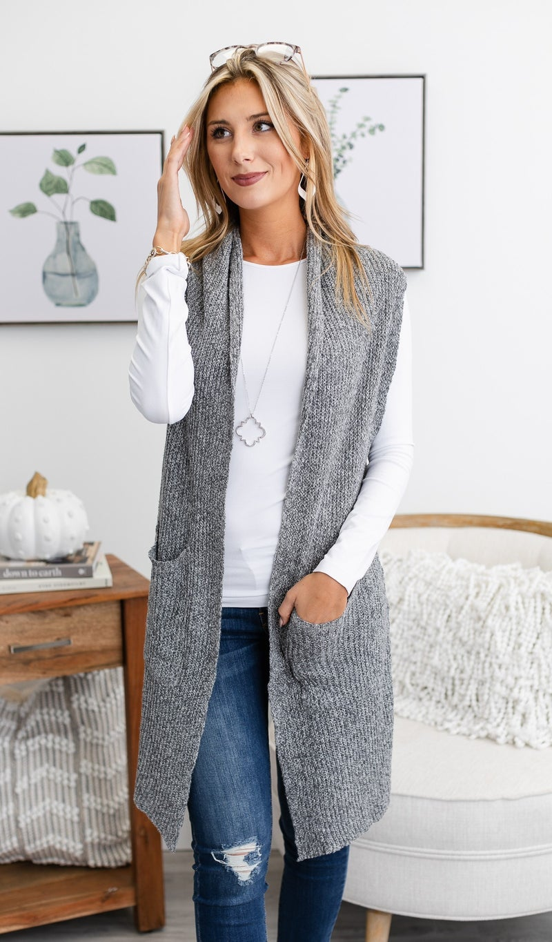 The Gena Sweater Vest, Charcoal or Oatmeal