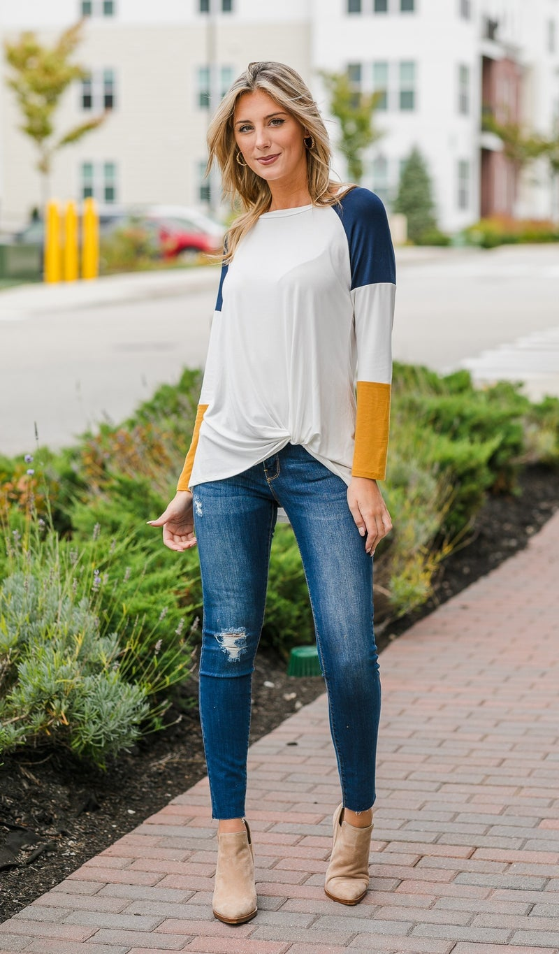 Chasing A Feeling Top, Navy & Mustard Mix