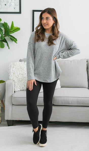 Sweet Sylvia Top, Grey