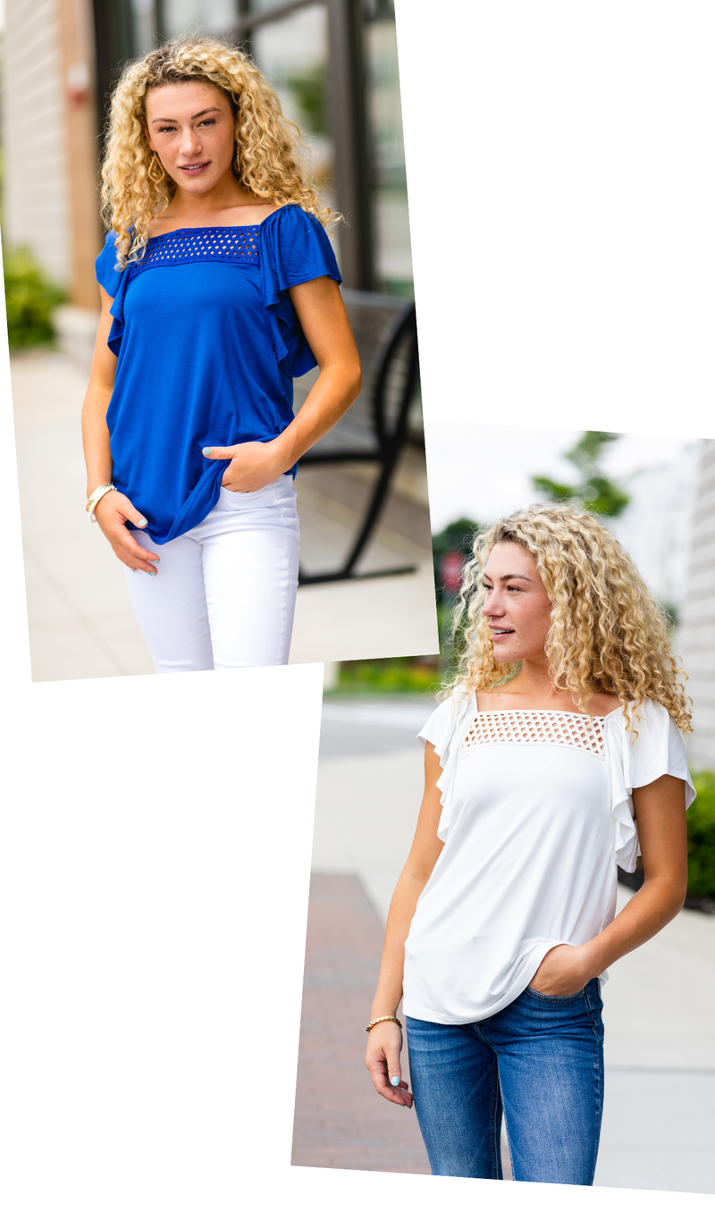 The Erin Top, Off White Or Royal Blue