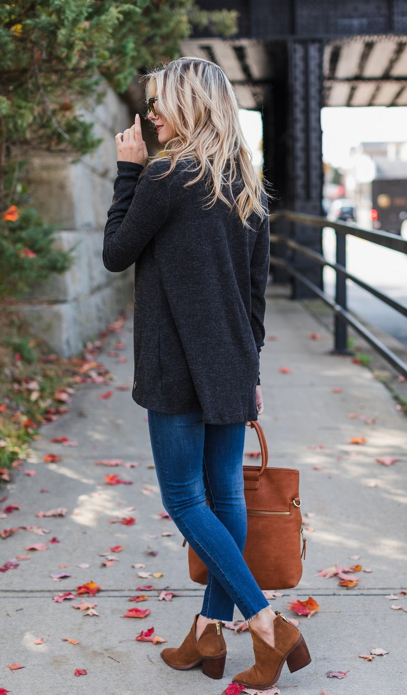 Cozy Afternoons Tunic, Black, Wine or Heather Grey