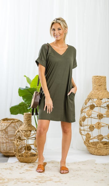 On The Go Tee Shirt Dress, Olive