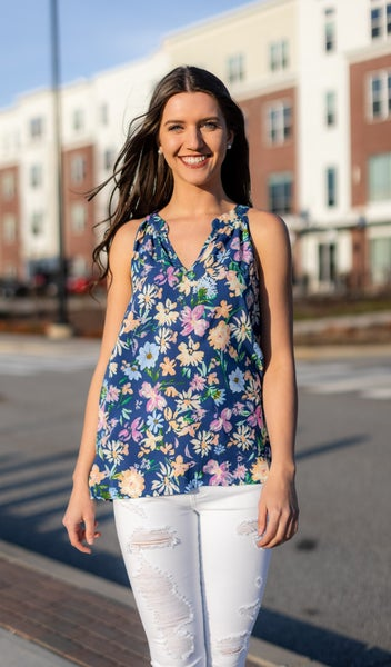 Dream On Tank, Navy Floral