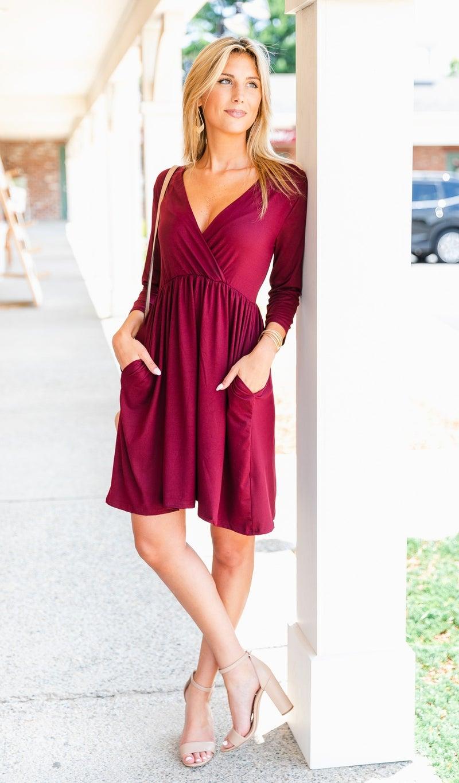 Morning Fields Dress, Burgundy