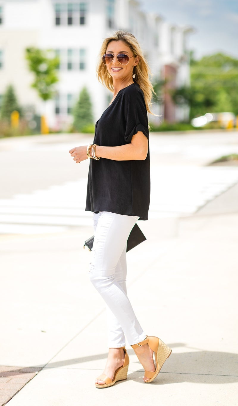 Everly Blouse, Black or Green