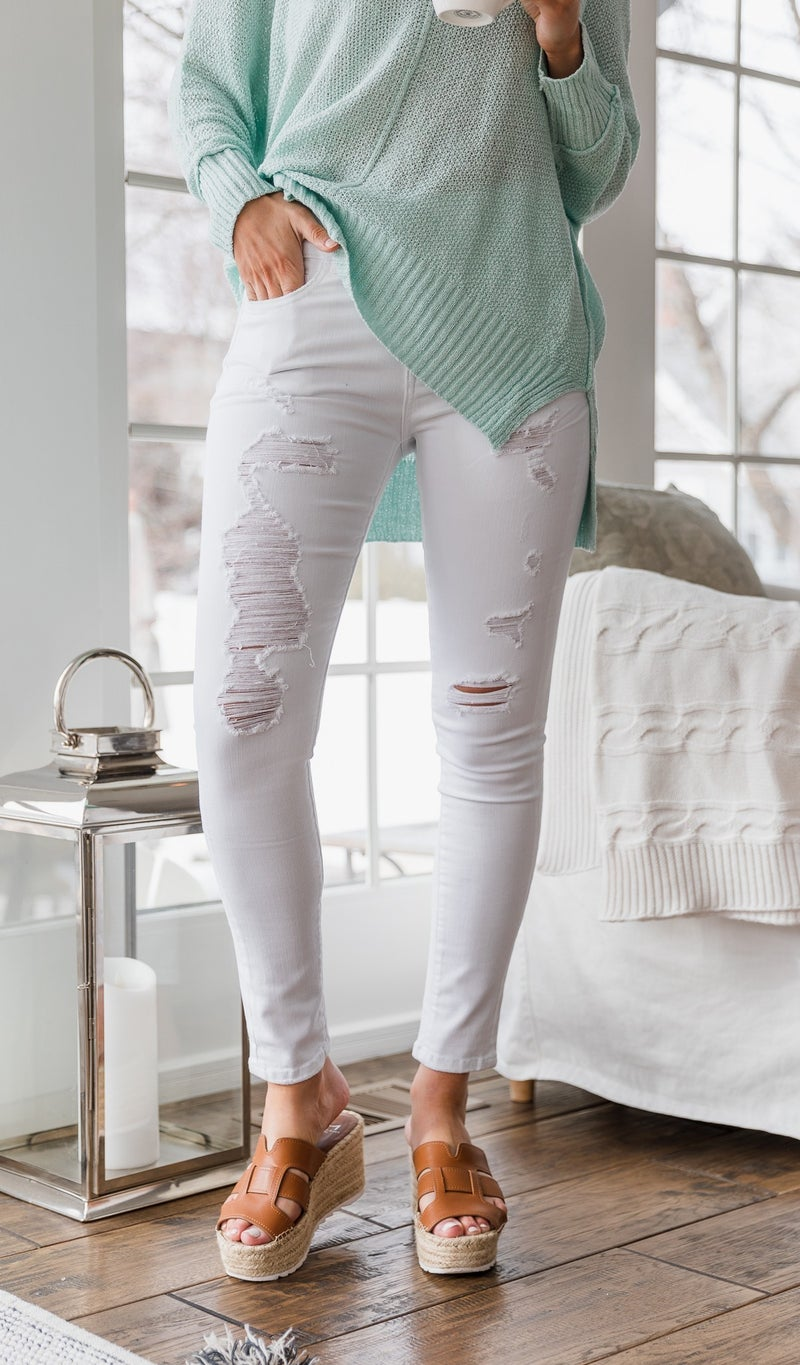 The Rosalie Distressed Jean, White