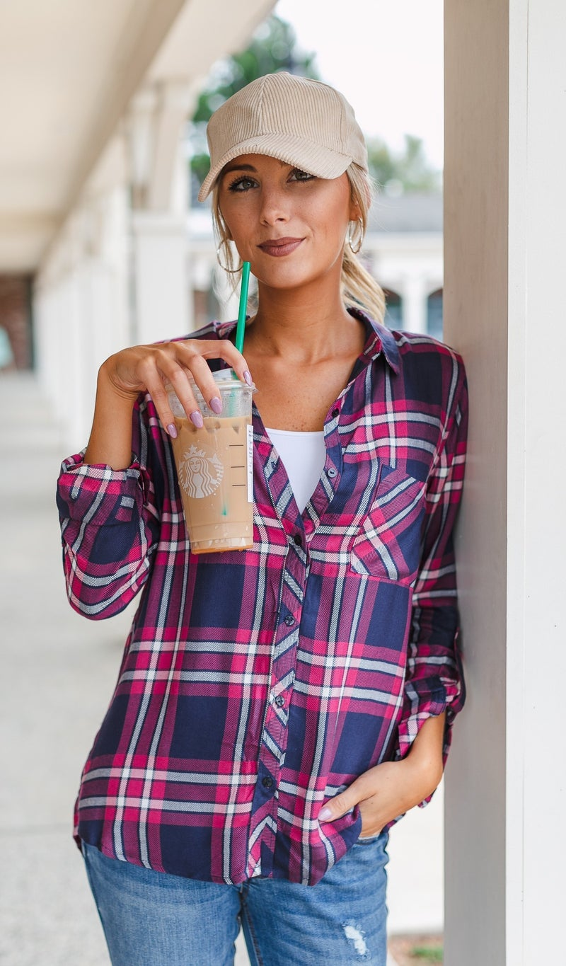 Fall Fave Plaid Button Down, Navy