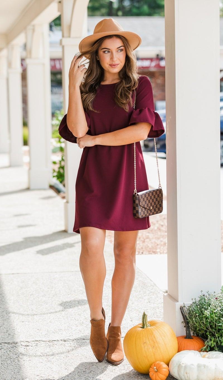 Never Been Done Dress, Burgundy