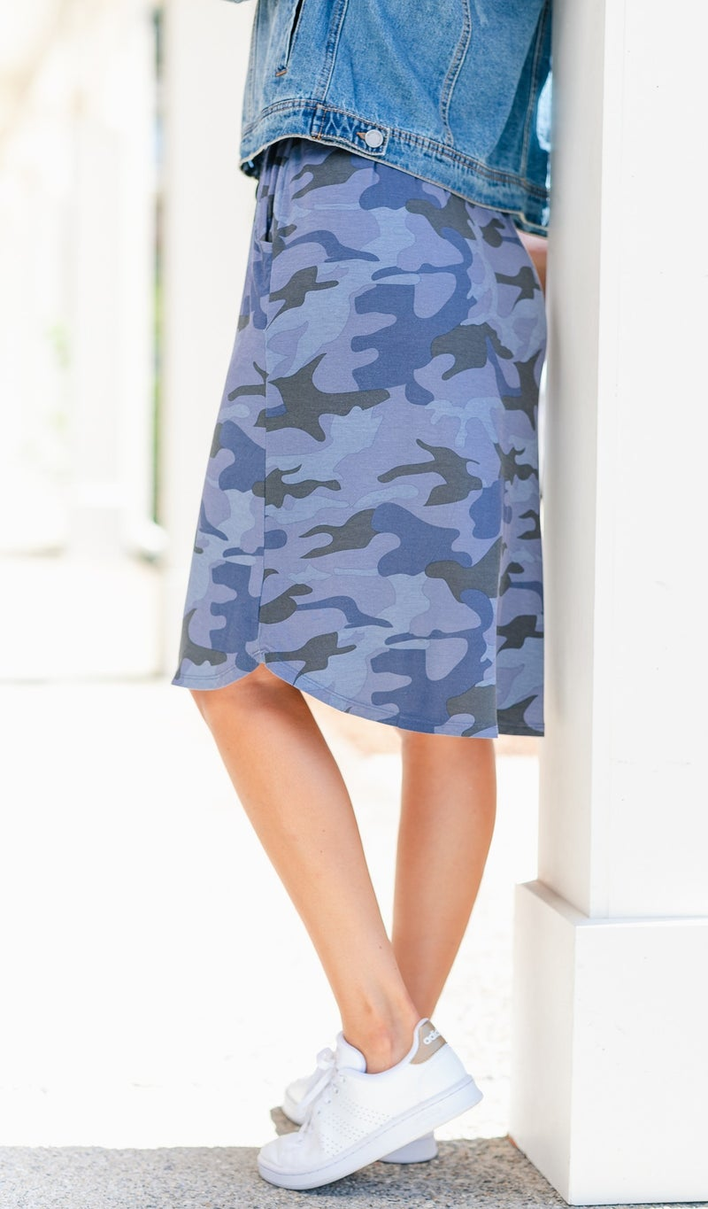 Perfect Fit Camo Skirt, Navy