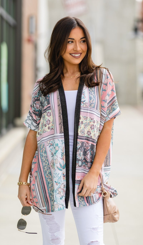 The Monica Kimono Cardigan, Blush