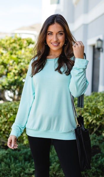 Good Vibes Top, Mint Peach or Navy