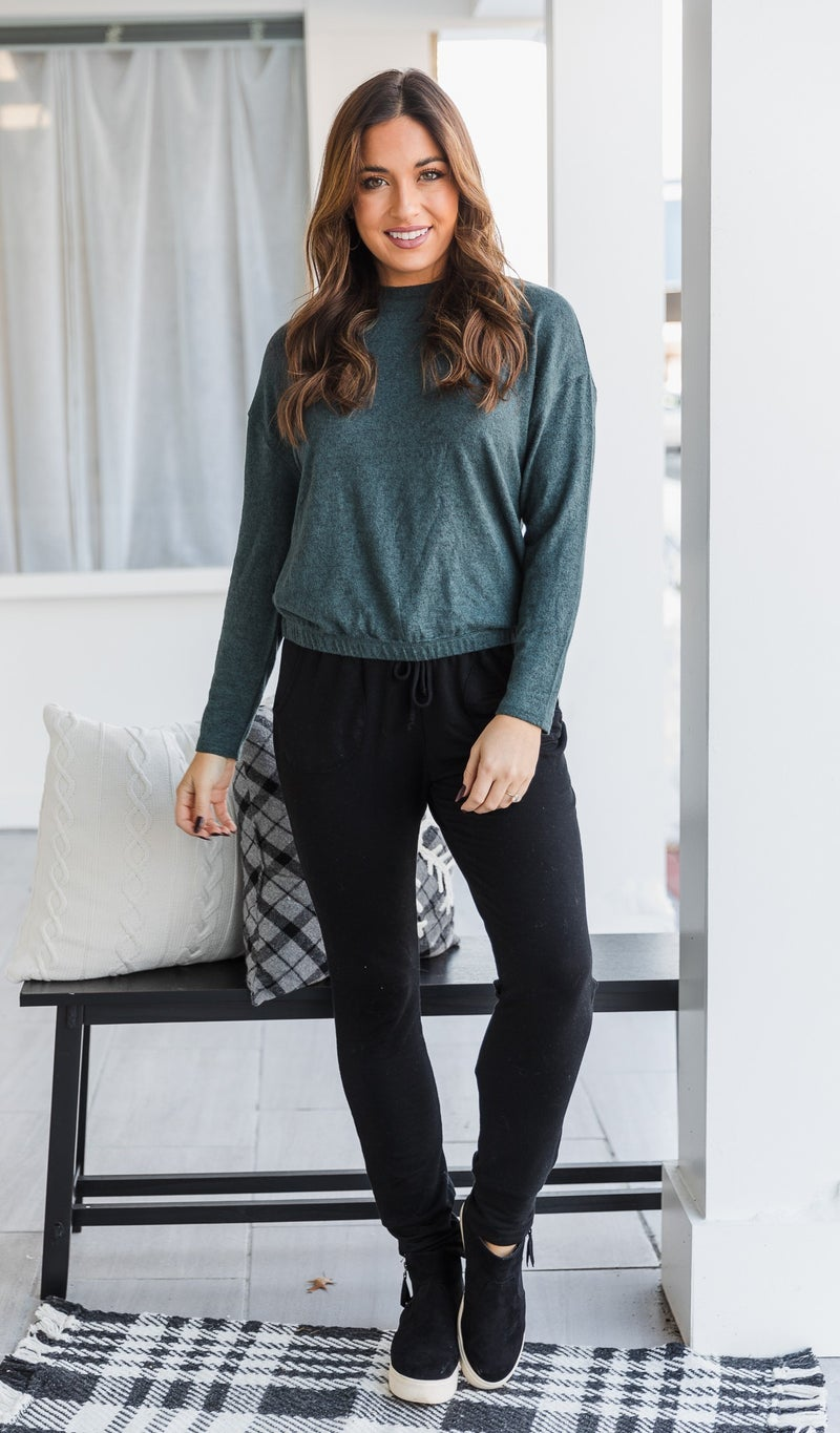 Cassie Knit Top, Grey, Oatmeal or Teal *Final Sale*