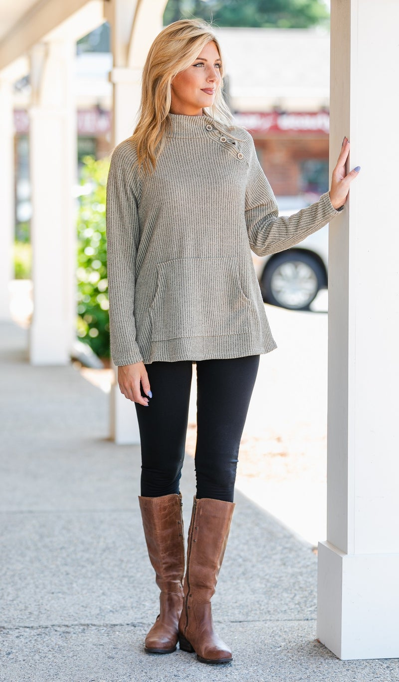 Sweet Escape Ribbed Top, Taupe or Mauve