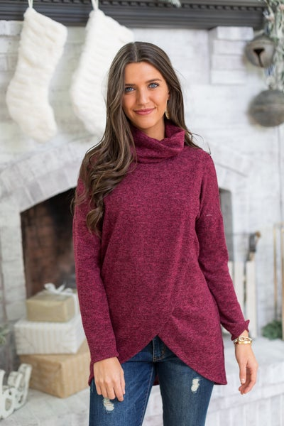 Clara Wrap Tunic, Burgundy