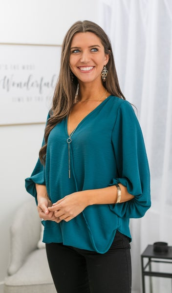 Lucky You Blouse, Teal