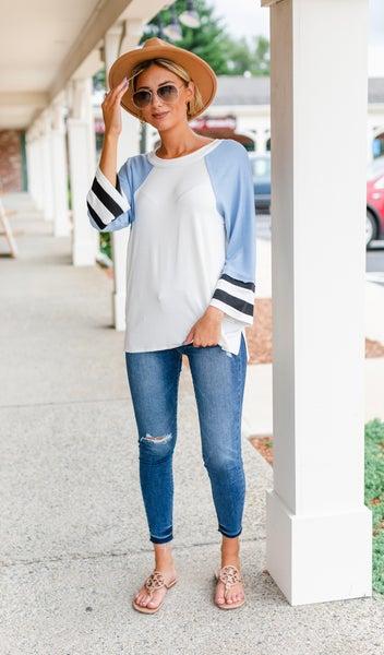 Varsity Flair Tops,Blue or Pink
