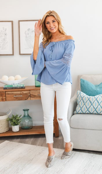 Late Night Top, Blue or Taupe