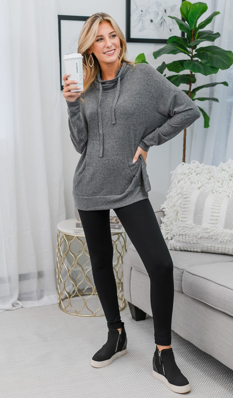 Say YES Hacci Knit Pullover, Charcoal