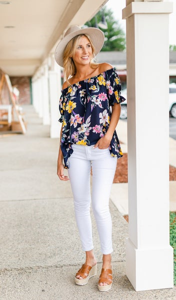Floral Forever Top, Navy