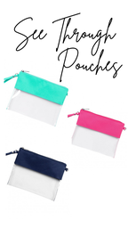 Clear Carry Pouch, Mint, Navy or Pink
