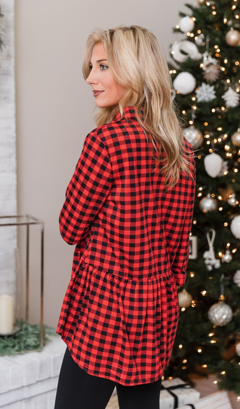 Beverly Plaid Shirt, Red