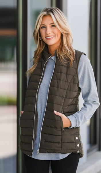 Keep you Cozy Vest, Olive Or Black