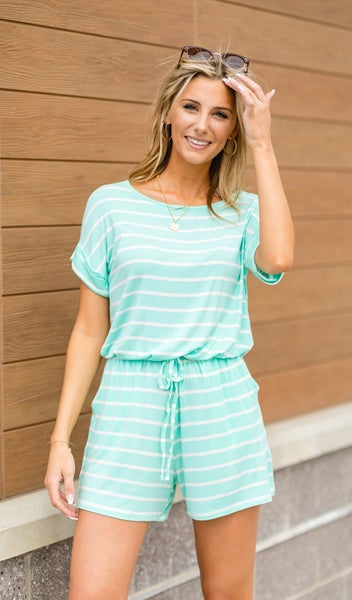 Fun and Free Romper, Mint and White Stripe