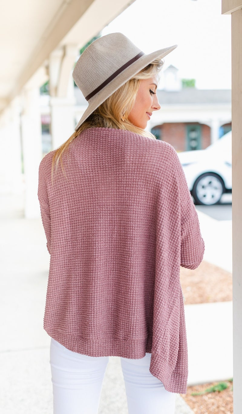 Always In August Sweater/Cardigan, Mauve
