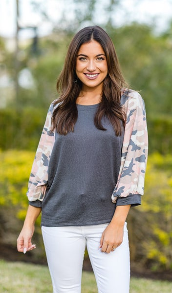 The Ciera Top, Charcoal Camo