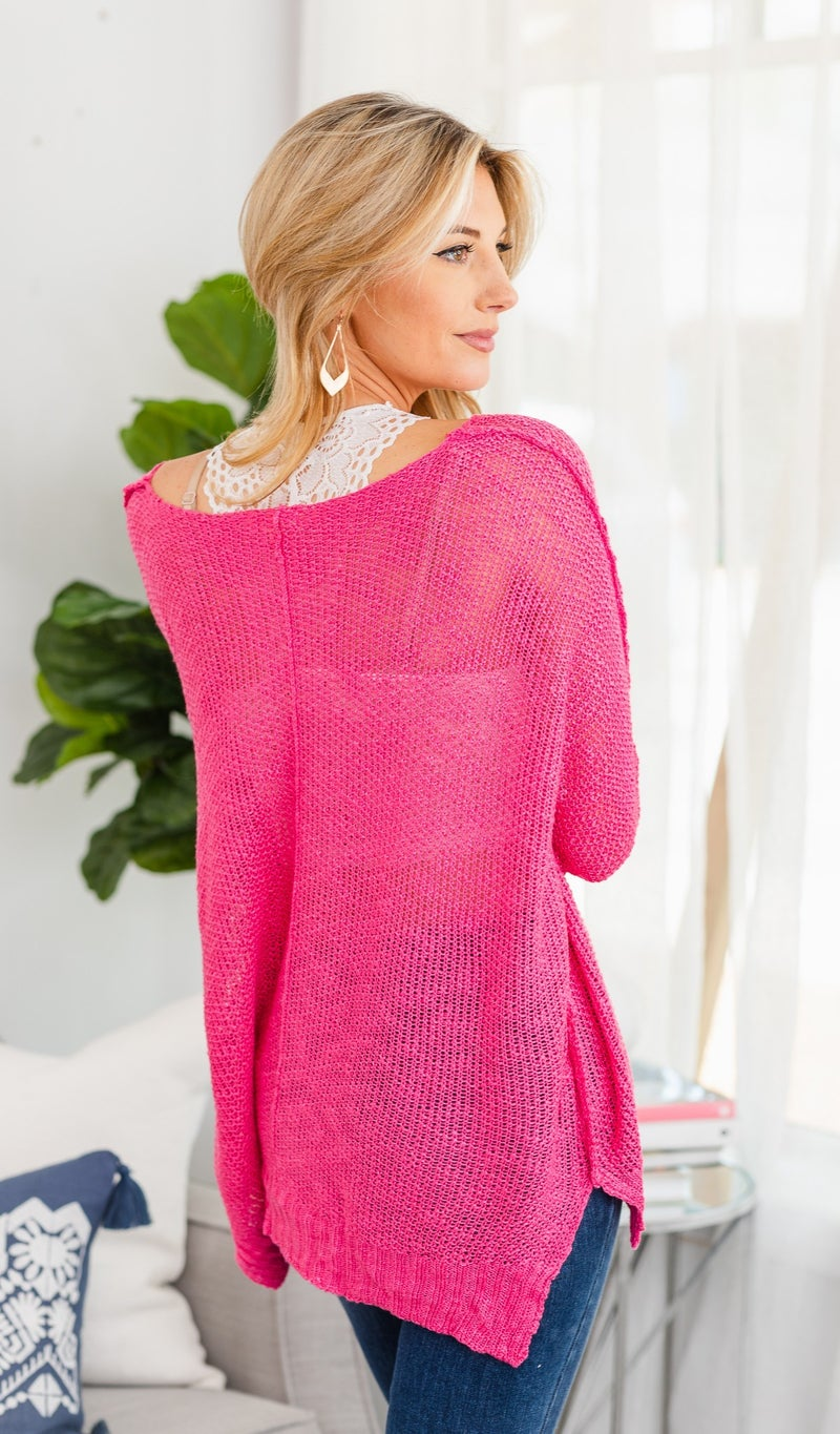 Feels Like Summer Slouchy Sweater, Hot Pink