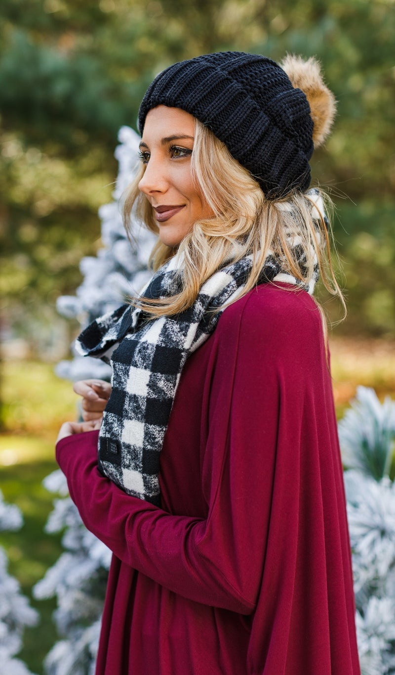 Feel The Chill Knit Hat, Red, Ivory, Navy, Black, Grey or Burgundy