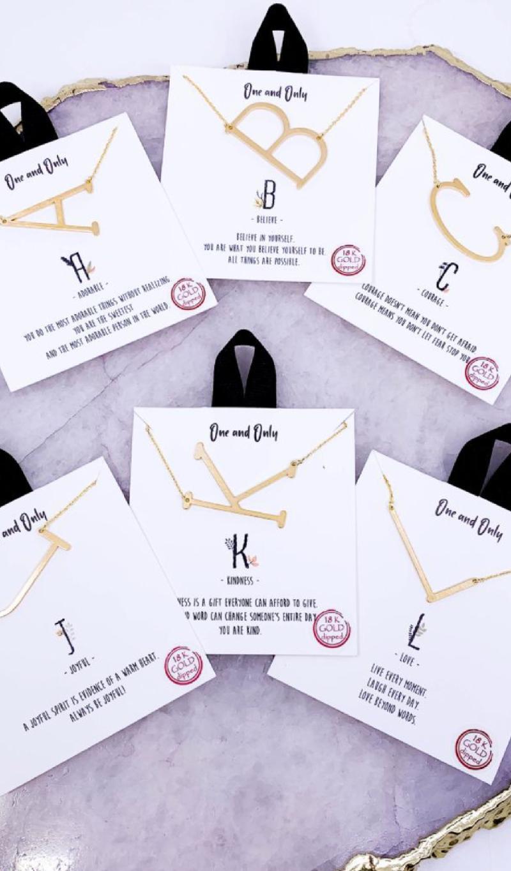Initial Monogram Necklace, Gold