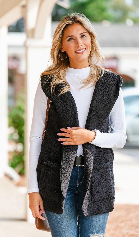 Feel Warmth Sherpa Vest, Black or Stone
